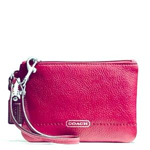 Coach Park Leather Small Wristlet Magenta Pink NEW